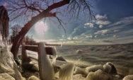 """بالصور:درجات الحرارة المنخفضة والرياح القوية تحول بحيرة """"بالاتون بالمجر"""" إلى أرض العجائب الشتوية الساحرة"""