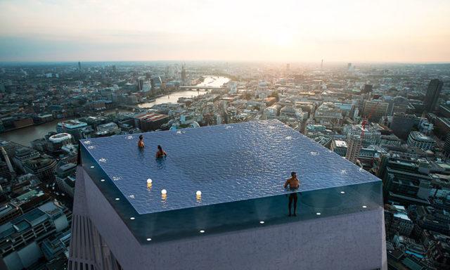 أول حوض سباحة شفاف في العالم بزاوية 360 درجة فوق ناطحة سحاب..هل تجرؤ على خوض هذه المغامرة؟