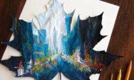 فنانة بولندية تستخدم أوراق الخريف المتساقطة كأعمال فنية للوحاتها