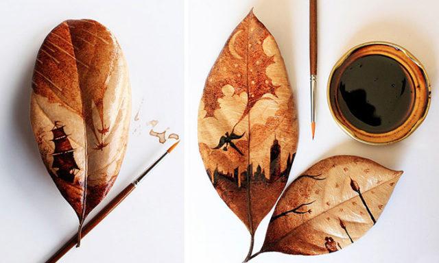 فنان اندونيسي يرسم لوحات مدهشة ببقايا قهوة الصباح