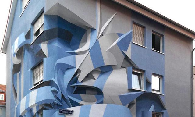 شاهد:فنان يذهل المارة برسوماته التجريدية ثلاثية الأبعاد(15 صورة)