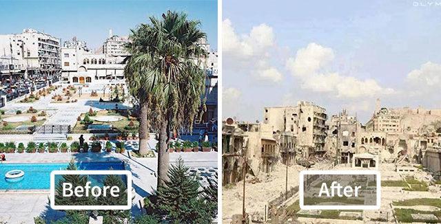 18 صور قبل وبعد تكشف آثار الحرب المدمرة لأكبر مدينة في سوريا(حلب)