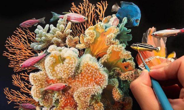 لوحات واقعية لأسماك وحيوانات اندمجت مع محيطها بقلم ليزا إريكسون