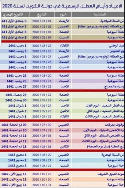 الاجازات الرسمية في الكويت 2020