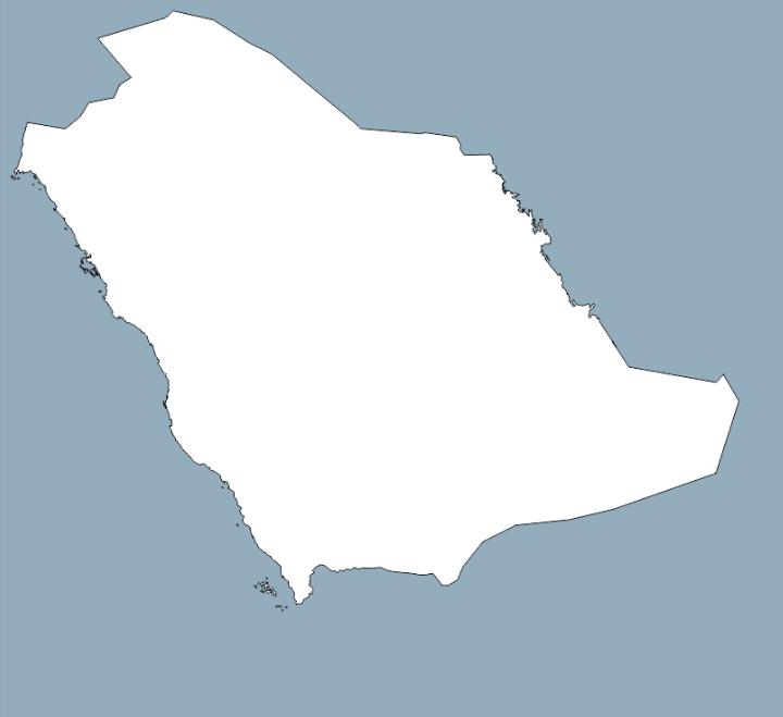 خريطة المملكة صماء فارغة .. خريطة المملكة السعودية صماء الحدود الجغرافية
