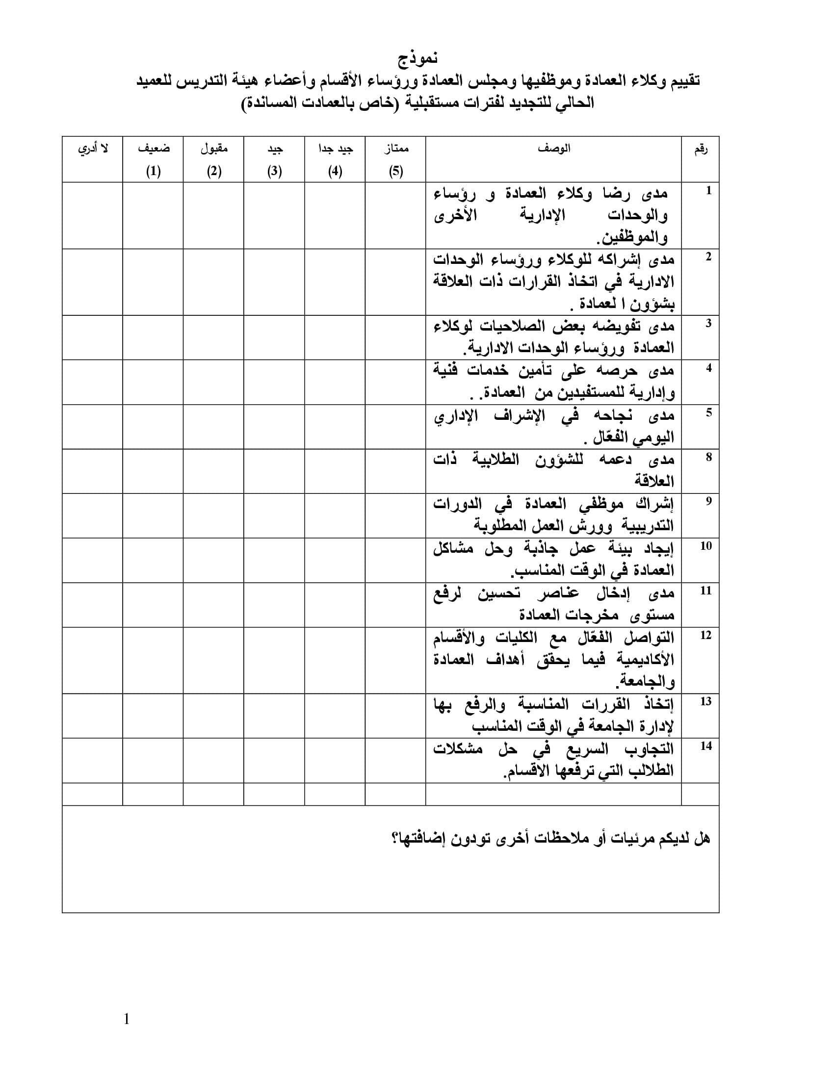 نموذج تقييم الدكاترة ksu جامعة الملك سعود ..